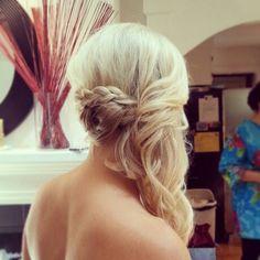 Bridal hair, Side swept updo, braid, bridesmaid hair, ash and co bridal hair and makeup