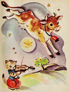 printables vintage 1930's nursery rhyme scene