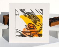 Cityscape Map Screen Print Art Yellow Orange by amandajozaitis, $20.00