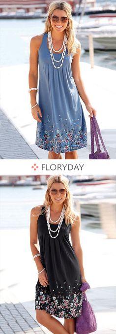 Floral Sleeveless Knee-Length A-line Dress, floryday, floral dress, fashion trend