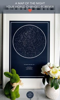Was it your first kiss, the birth of a child or that moment you realised your world had changed forever. Give a gift of the stars to always remember that special night. Create a 50cm x 70cm star map of the night your heart skipped a beat. Printed on the finest Art Matte paper using archival ink. This wall art is of the highest quality.