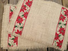 Burlap Christmas Placemats Poinsettias by SouthernRenewal on Etsy, $25.00