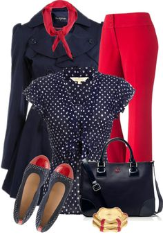 """Navy Polka Dot Shirt"" by elenh2005 on Polyvore"