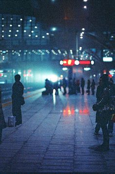 train platform in the night lights