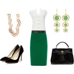 Green work outfit.  I like that the top is neutral and the bottom is bright, when it's usually the other way around.
