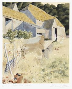 Simon Palmer (British, born 1956) 'Emerging from barn' signed 'Simon Palmer' (lower right in margin) and titled (lower left in margin), watercolour  34.5 x 26cm (13 9/16 x 10 1/4in).