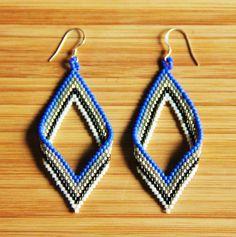Boucles d'oreilles miyuki losange bleu cobalt en par Ccedille