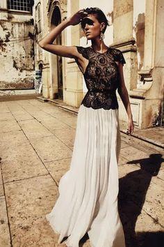 Black lace top, white long skirt
