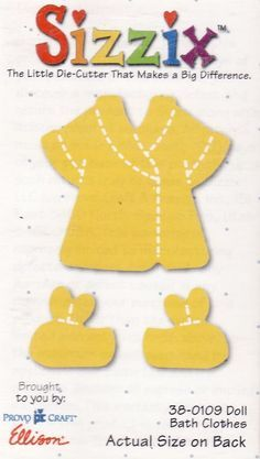 Sizzix /Doll Bath Clothes (yellow die) #Sizzix