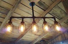 Rustic Industrial Lighting Chandelier- Edison Bulb Iron Pipe Ceiling Light- Industrial Farm House Chandelier- Rustic Lighting- FREE SHIPPING
