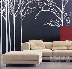 7 trees wall decals
