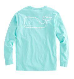 Vintage Vines Long-Sleeve Vintage Whale Graphic Pocket T-Shirt - Marina