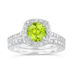 Peridot Engagement Ring Set, Green Peridot and Diamonds Wedding Rings Sets, 1.86 Carat 14K White Gold Certified Halo Pave Handmade