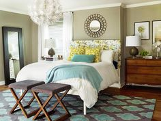 Master Bedroom The starting point for Sherry and John's bedroom was the headboard, which Sherry upholstered with a botanical-print curtain. Home Bedroom, Master Bedroom, Bedroom Decor, Bedroom Ideas, Bedroom Lighting, Bedroom Styles, Bedroom Storage, Master Suite, Master Bath