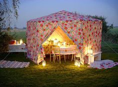 "Glam Camping or ""glamping"" is a major trend in Europe that's beginning to make its mark in the States. Glamping is camping with all the luxuries of home. electricity, running water, even a bed with 300 thread count sheets. Tenda Camping, Camping Con Glamour, Outdoor Spaces, Outdoor Living, Outdoor Plants, Home Decoracion, Camping Glamping, Glam Camping, Backyard Camping"
