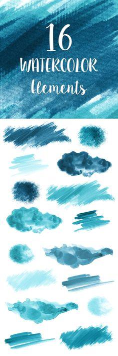 16 Blue Watercolor Splotches, Splatters and Brush Strokes; Blue Watercolor Clip Art, Transparent Background PNG; Watercolor Design Elements