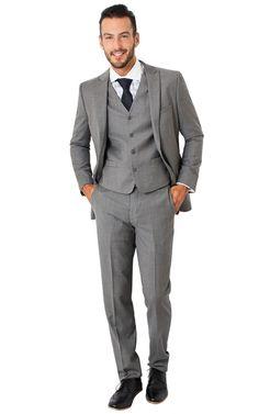 2016 Handsome 2 Button Pinstripe Grey Slim Fit Suit Formal Party Men Suits Groom Tuxedos Wear Peaked Lapel Best Man Suit Newest