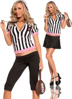 Sideline Sweetheart Referee Teen Costume By Elegant Moments - Small/Medium Best Halloween Costumes & Dresses USA Referee Costume, Football Costume, Cheerleader Costume, Costumes For Teens, Adult Costumes, Sports Costumes, Funny Costumes, Black Pleated Mini Skirt, Affordable Lingerie