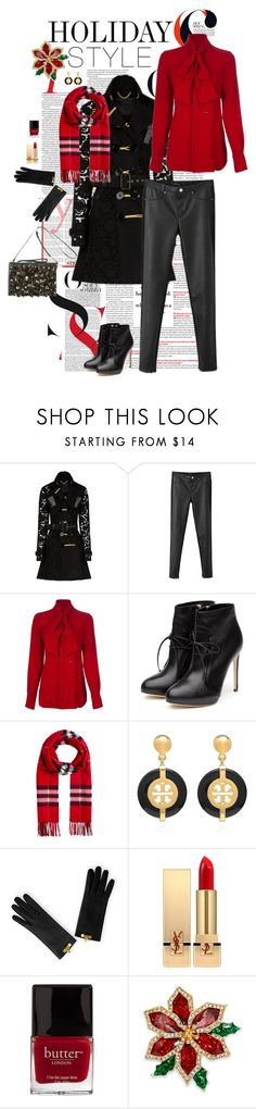 """holiday style: leather pants"" by queen-penelope ❤ liked on Polyvore featuring мода, Burberry, Chicnova Fashion, Dsquared2, Rupert Sanderson, Tory Burch, Yves Saint Laurent, Butter London, Charter Club и redandblack"