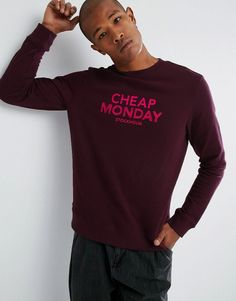 CHEAP MONDAY WORTH SWEATER DOODLE LOGO - RED. #cheapmonday #cloth #
