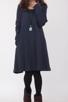 Simple comfortable cotton babydoll long sleeved dress In dark blue