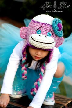 Pink Sock  Monkey  Hat with Flower for Girl - Made to ORDER from Newborn to 5 years. $35.00, via Etsy.