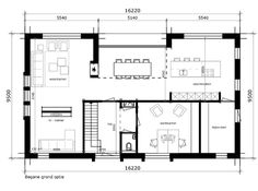 Like fireplace in living & dining table and like tv room but needs to be completely sealed off from living Bungalow Floor Plans, House Floor Plans, Modern Architecture House, Architecture Plan, Build Your Own House, Girl House, Home Design Plans, House Layouts, Custom Homes
