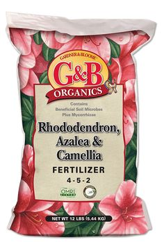 G&B ORGANICS RHODODENDRON, AZALEA & CAMELLIA FERTILIZER (4-5-2) Great for all acid and shade loving plants including rhododendron, azaleas and camellias. Lowers pH for more acidic soil Gently feeds acid-loving plants like rhododendron, azaleas and camellias Perfect for many other acid-loving plants like blueberries and hydrangeas