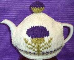 Scottish thistle hand knitted tea cosy one of by peerietreisures