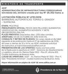 CRÓNICA FERROVIARIA: Llamado a Licitación instalación Barreras Automáti...