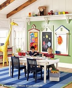 Play Room - I like the bulletin, chalk, and white board on the wall. Could add a magnet or felt board too.