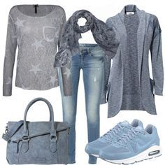 #Farbberatung #Stilberatung #Farbenreich mit www.farben-reich.com SmokeBlue Outfit - Herbst-Outfits bei FrauenOutfits.de