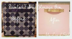 How to Paint Fabric Storage Bins {Tutorial} - I want to share a tutorial for the Pink and Gold Painted Fabric Storage Bins I displayed throughout my craft room. Arts And Crafts Storage, Diy Toy Storage, Fabric Storage Bins, Fabric Bins, Craft Room Storage, Cube Storage, Storage Ideas, Storage Boxes, Paint Storage