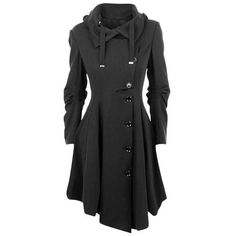 This slim irregular length coat with plus size, slim style and button decorate make this coat eye-catching and street trench.  Color: BLACKSize: S, M, L, XL, XX