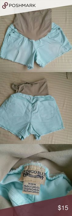 Light Blue stretch Cut off  Maternity Shorts Super cute cut off maternity shorts from Indigo Blue! Distressed details on back pocket and the front of the shorts! Work that baby bump and show off those legs in these shorts! Indigo Blue Shorts Jean Shorts