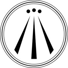 """Awen. Awen is a Welsh word for """"(poetic) inspiration"""". In some forms of Neo-druidry the term is symbolized by an emblem showing three straight lines that spread apart as they move downward, drawn within a circle or a series of circles of varying thickness, often with a dot, or point, atop each line."""