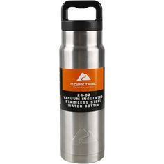 Ozark Trail 24 oz Double Wall Vacuum Stainless Steel Water Bottle, Silver