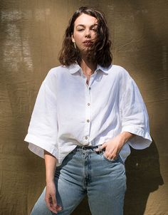 Luxury French Linen Shirt - I Love Linen White Linen Shirt, Linen Blouse, Linen Shirts, Simple Shirts, Fashion Moda, Cotton Style, Couture, Shirt Outfit, Lounge Wear