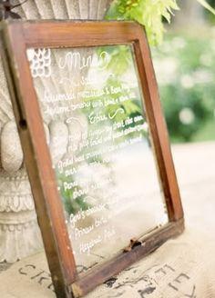 Menu written on old window.  still love this idea.