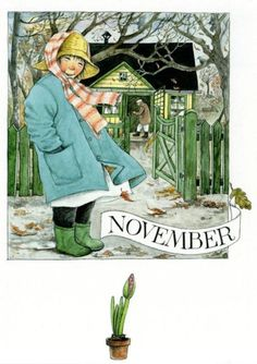 'November' - by Lena Anderson -- (autumn, fall, illustration, art)… Seasons Months, Months In A Year, Four Seasons, Claudio Bravo, Edith Holden, Elsa Beskow, Material Didático, Hello November, Pulp Fiction