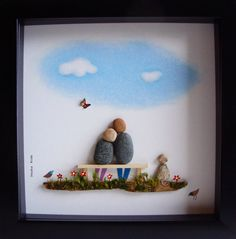 Pebble Art Wedding Gift Unique Engagement Gift COUPLE by MedhaRode