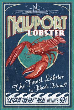 Newport, Rhode Island - Lobster Vintage Sign - Lantern Press Poster