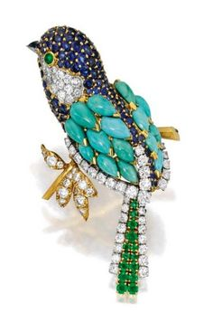 18K Gold,Platinium, Colored Stones and Diamond Brooch, Van Cleef & Arpels, France: Designed as a bird perched on a branch, the body set with pear-shaped turquoise cabochons, accented by round sapphires and emeralds, further set with round diamonds weighing approximately 2.00 carats, completed by a cabochon sapphire beak, signed Van Cleef & Arpels, numbered 94301, with French assay mark and workshop mark for Georges L'Enfant-circa 1965.