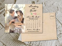 Wedding Save The Date PostCard  RusticFloral by FifthVintage