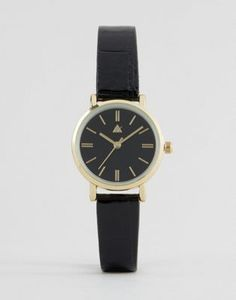 ASOS Sleek Mini Black Patent Croc Strap Watch