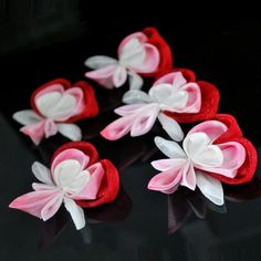 Red and Pink Bleeding Hearts. Individual Flower. by hanatsukuri, $9.00: