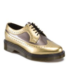 This Gold & Pewter Leather Spectator is perfect! #zulilyfinds. Now with a pair of walking shorts and a button down sweater you would look so awesome and ready for the new school year.