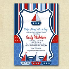 Ships Ahoy Sailboat Baby Shower or Birthday Party Invitation - Digital File - PRINTABLE INVITATION DESIGN