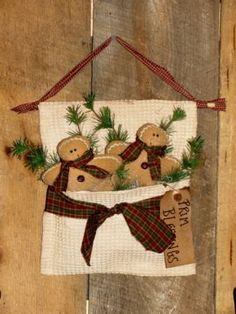 Primitive Home Decor - Handmade Country Decor Gingerbread Man Crafts, Gingerbread Decorations, Christmas Gingerbread, Christmas Decorations, Christmas Ornaments, Christmas Sewing, Primitive Christmas, Rustic Christmas, Handmade Christmas