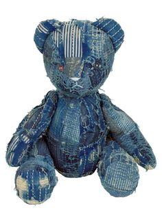 Indigo Boro Teddy Bear by Kapital Japan - Long John Jean Crafts, Denim Crafts, Boro, Textiles, Teddy Beer, Denim Art, Japanese Quilts, Denim Ideas, Recycled Denim